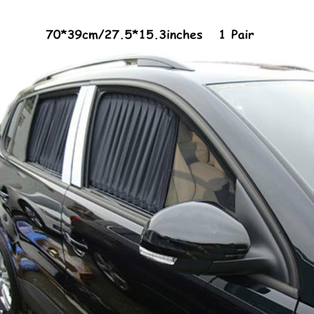 A Pair 70cm Black Adjustable VIP Car Window Curtain UV Sunshade Visor Sunshade