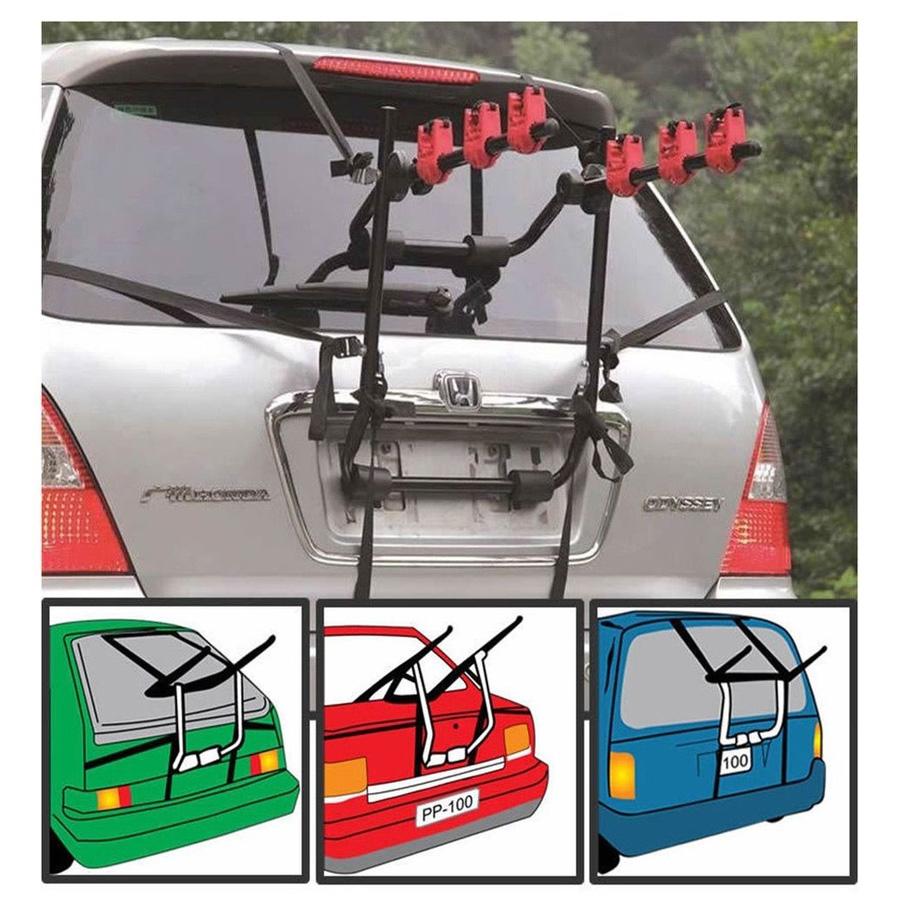 Bike Rack For Suv >> Details About New Trunk Mount 3 Bike Carrier Hatchback Suv Or Car Sport Bicycle Rack Black Us