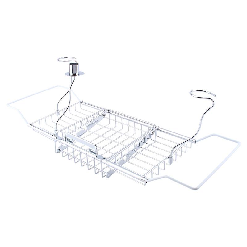 Metal Bath Caddy Bathtub Reading Stand Rack Adjustable Wine Book ...