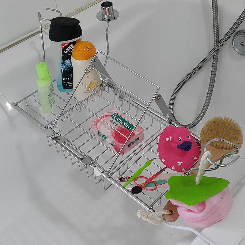 Metal Bathroom Bathtub Reading Book Rack Shower Tub Tray Wine Glass ...