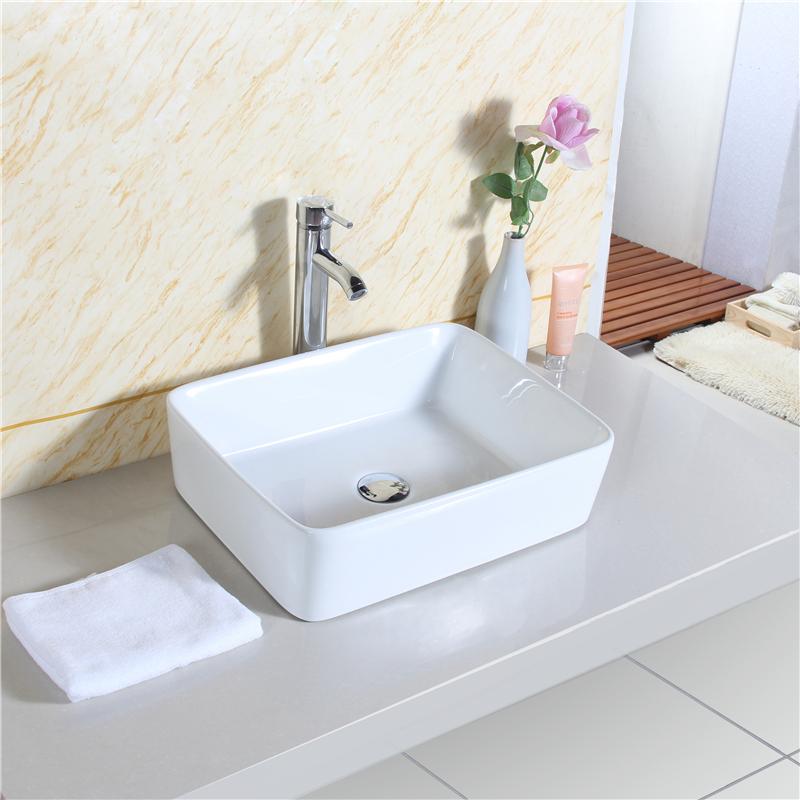 aufsatzwaschbecken aufsatz waschtisch waschbecken eckig 48x38 cm weiss kreamik ebay. Black Bedroom Furniture Sets. Home Design Ideas