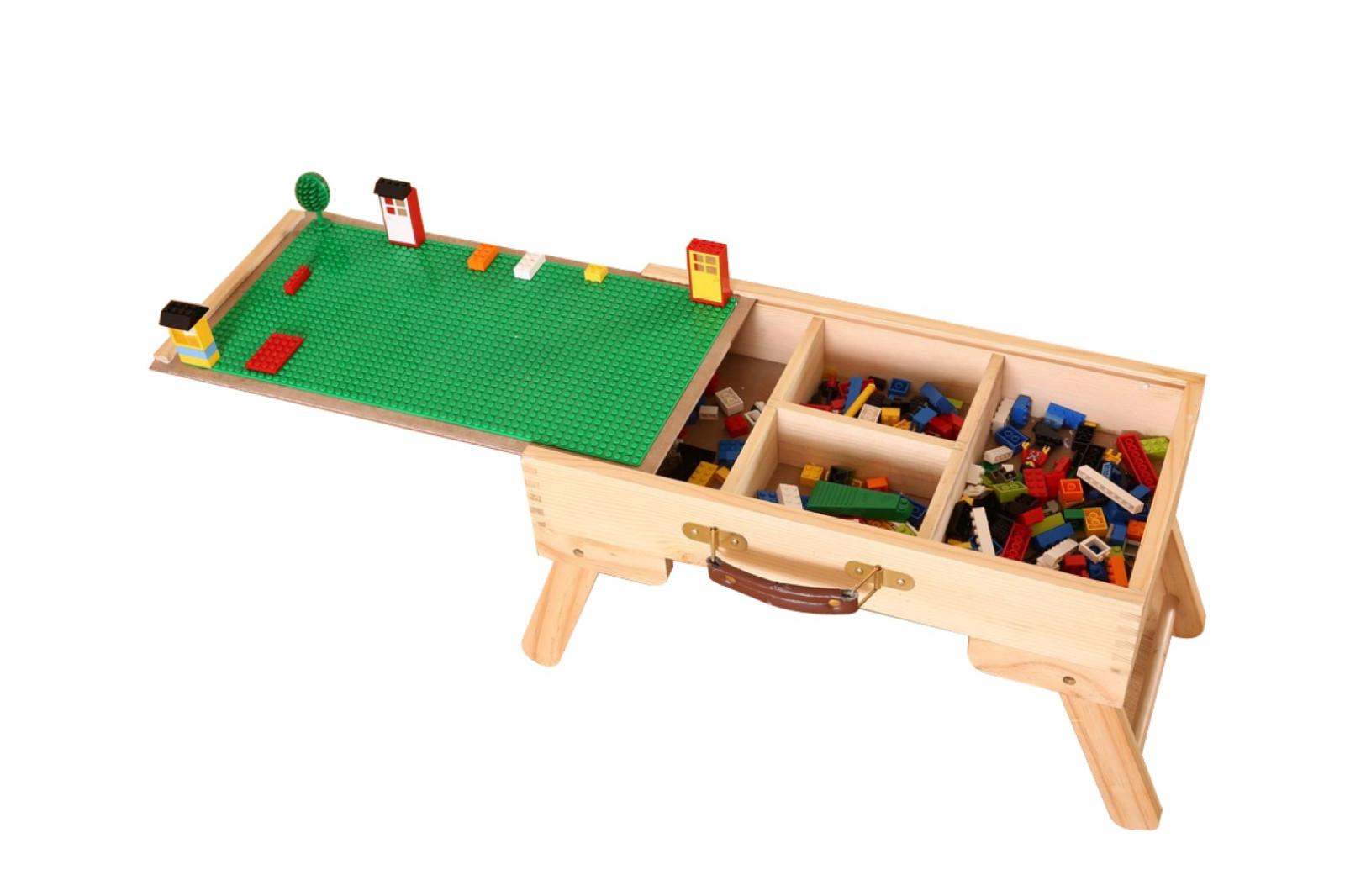 Delightful 1x Quanlity Kids Children Storage Building Block Table Folding Custom  Wooden US