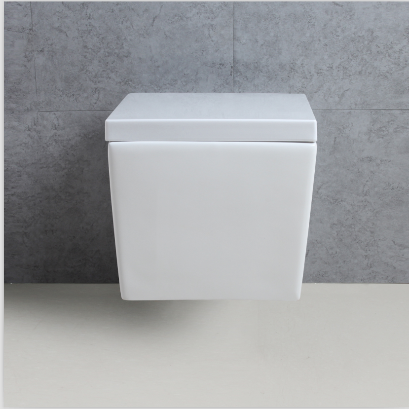 White Modern Ceramic Square Wall Bathroom Mounted Toilets Seat With ...