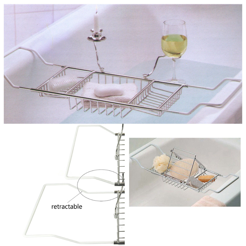 Metal Bath Caddy Bathtub Reading Stand Rack Adjustable Wine Book ...