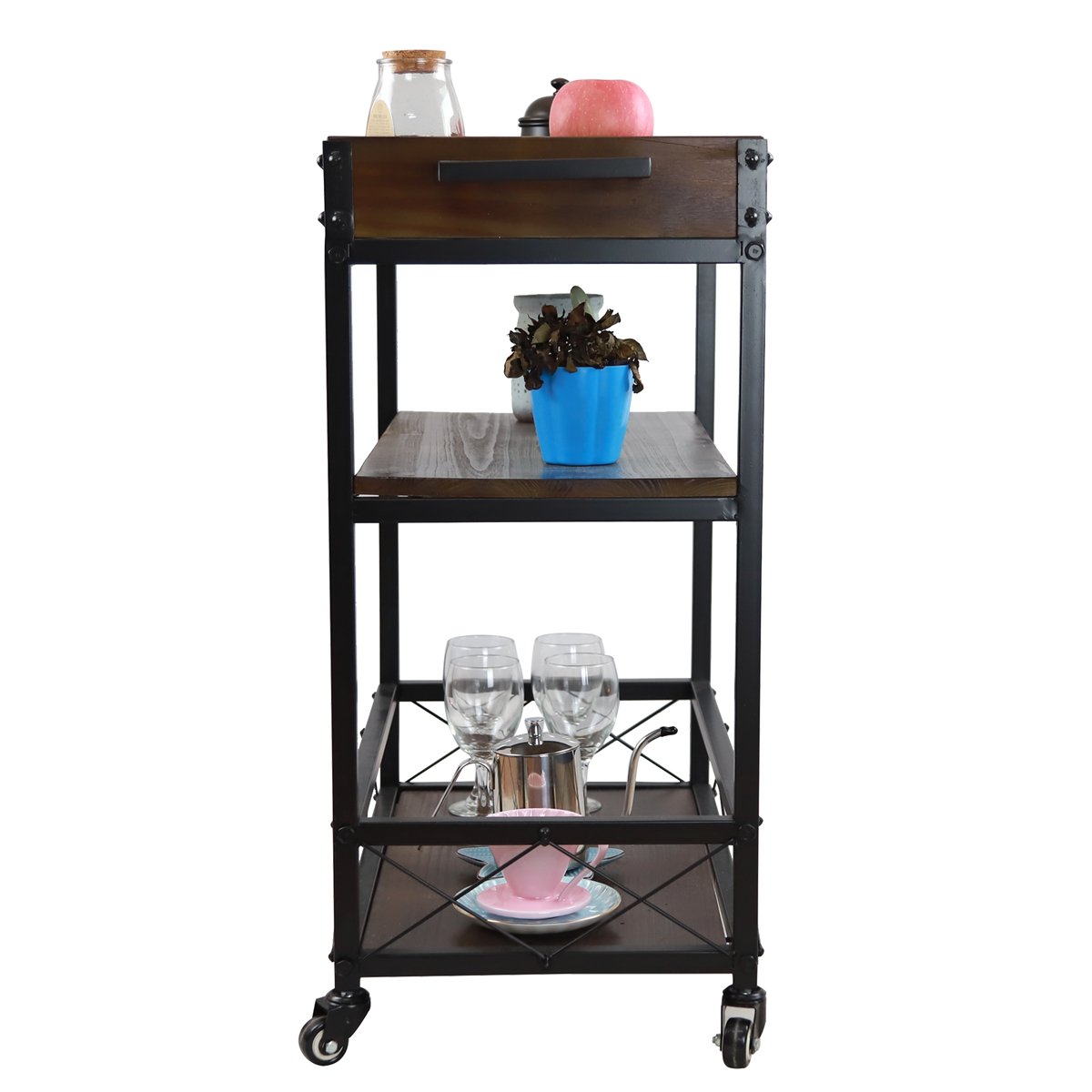 Mini Bar Cart Small Kitchen Outdoor Serving Patio On Wheels Mobile Wine  Glasses