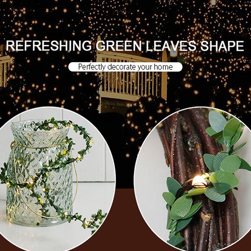 1x Green Leaf Vine Copper Wire Fairy String Lights Garden Wedding Party Decor L0