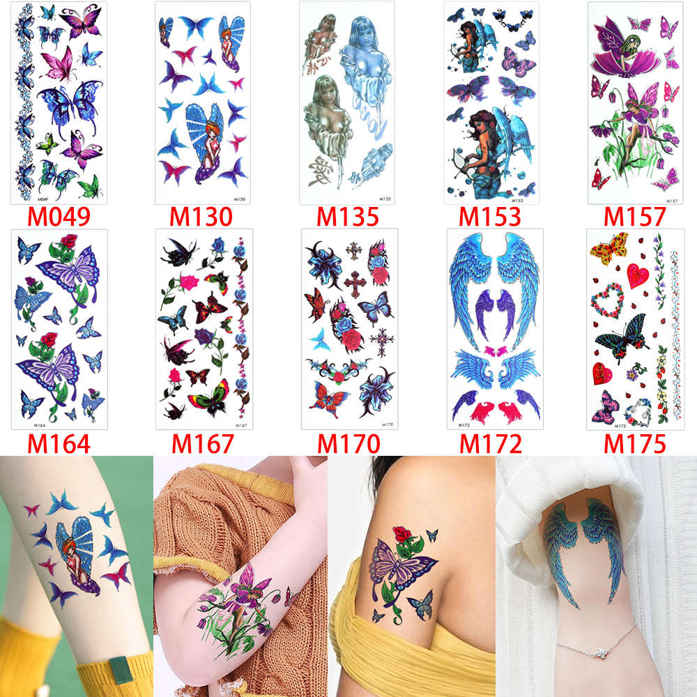 Hengsong New Design Butterfly Tatto Temporary Stickers Multicolor Sticker Hb577 Rose Source Beauty Women Tattoo Body Art Blooming