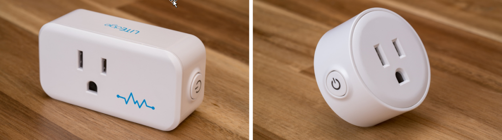LITEdge's newer smart plug model (left) is designed so you can fit multiples when plugging into the wall or a power strip, versus the old model (right) which generally prevented another from being plugged in next to it.
