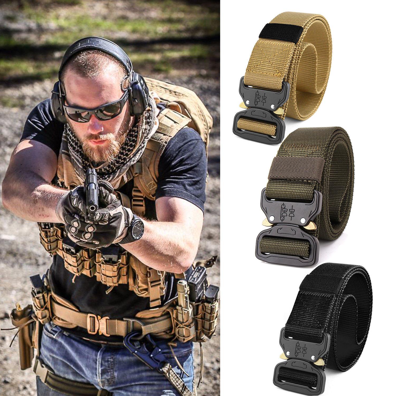 Adjustable Men Army Belt Buckle Combat Waistband Tactical Rescue Rigger Tool Neu