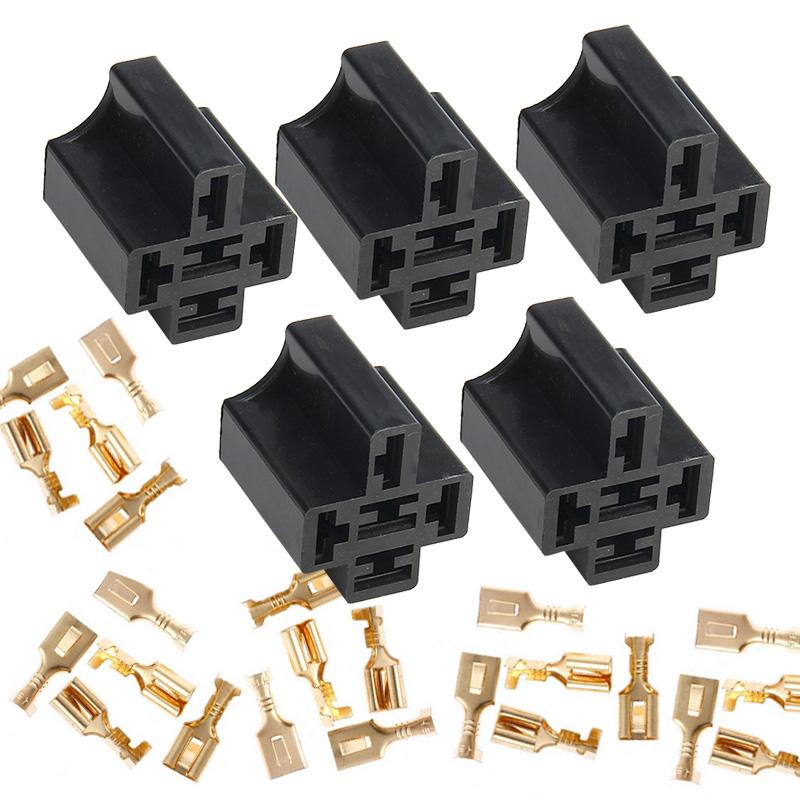 5set 40a 5 Pin Relay Connector Socket 5 X 6 3mm Terminals