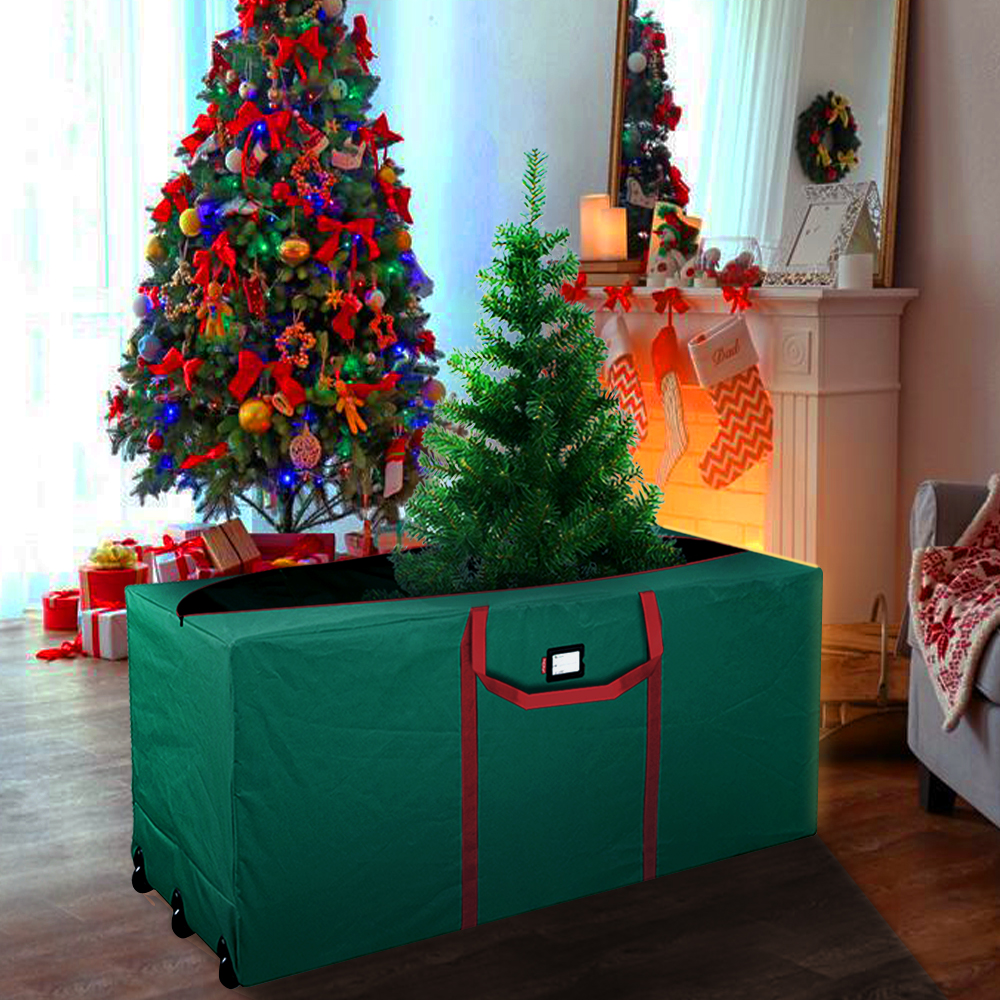 Rolling Artificial Christmas Tree Storage Duffle Bag Box