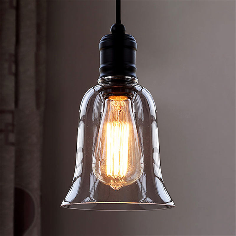 Details About Vintage Clear Glass Bell Shade Ceiling Hanging Lighting Single Pendant Light