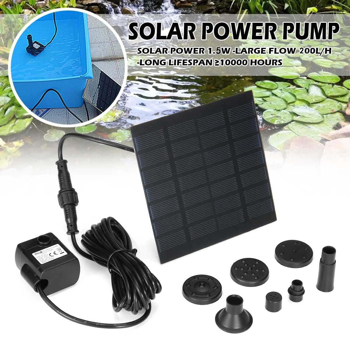 8W Solar Fountain Pump for Bird Bath,200L//H Solar Powered Submersible Water Pump Kit for Pool,Pond,Garden Decoration