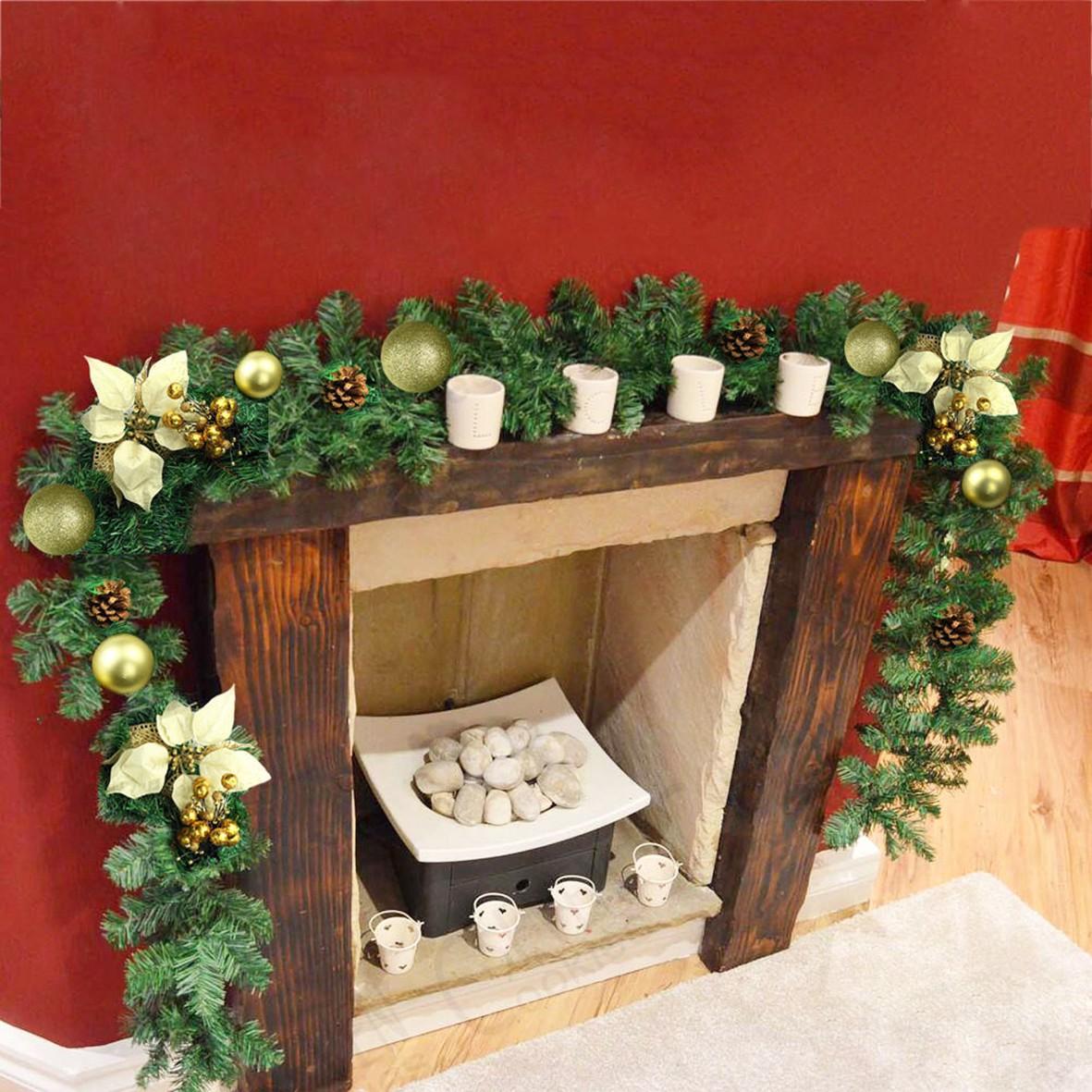 9ft Decorated LED Garland Christmas Decor Xmas Fireplace ...