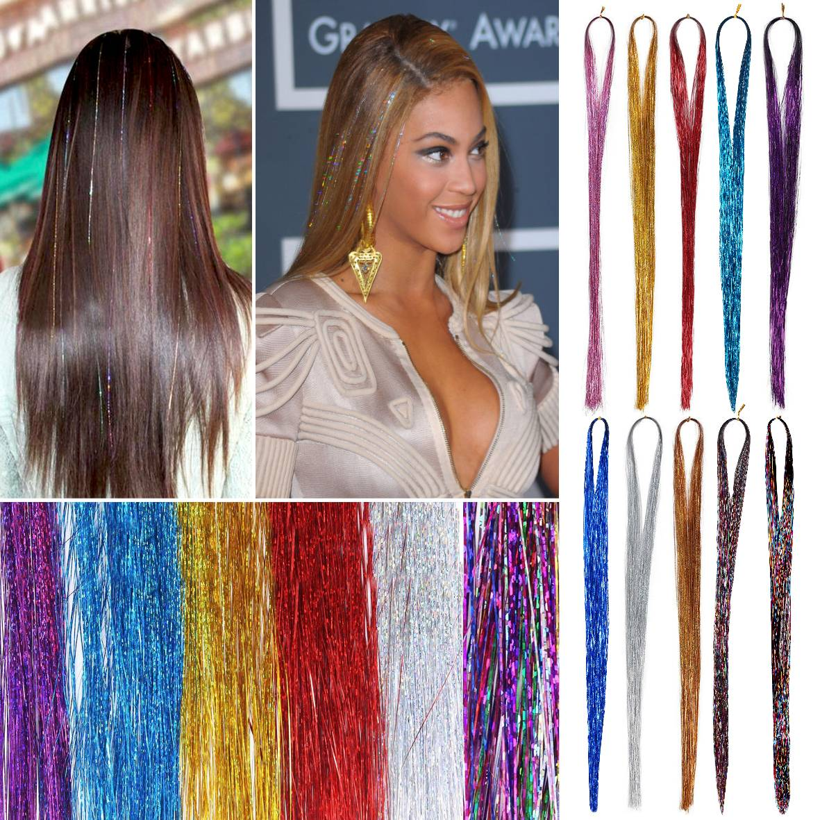 100 X Strands Holographic Sparkle Hair Tinsel Extensions Dazzles