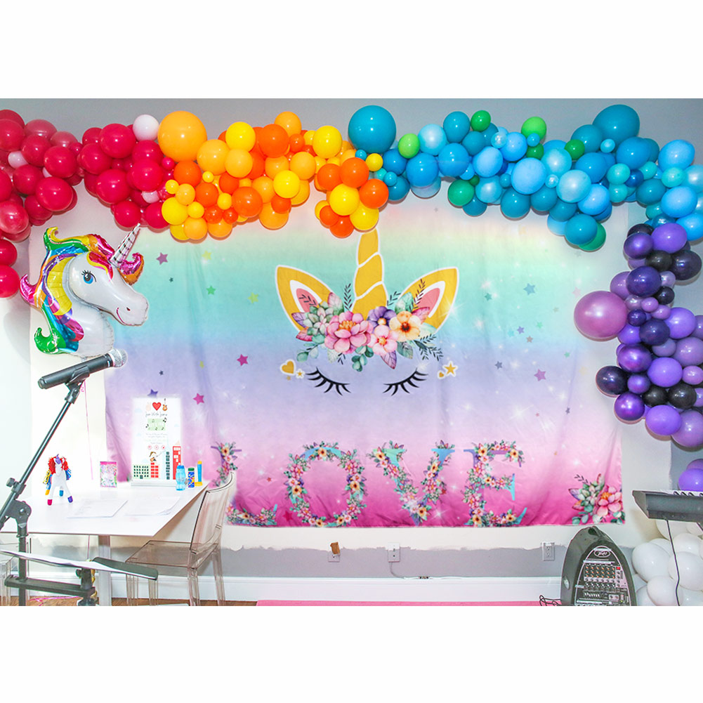 Details about Magical Unicorn Party Photo Wall Backdrop Birthday Baby Show  Background Decor
