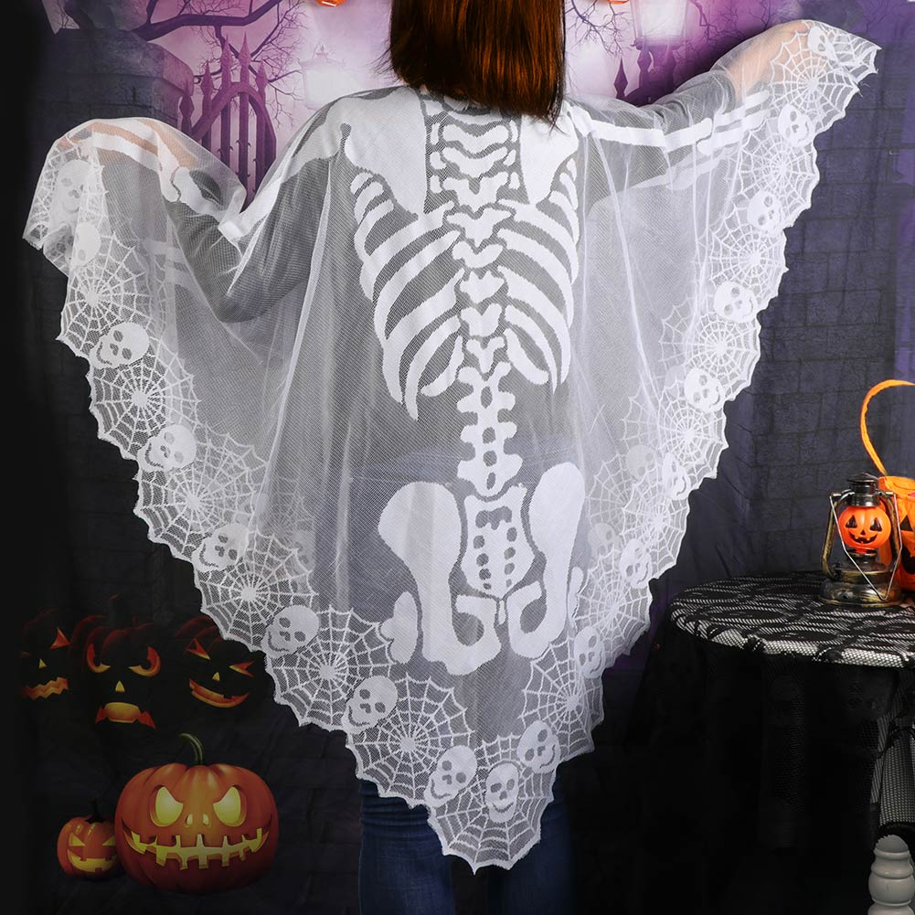 Ourwarm Lace Skeleton Poncho Skull Spider Web Halloween Party Costume Decor