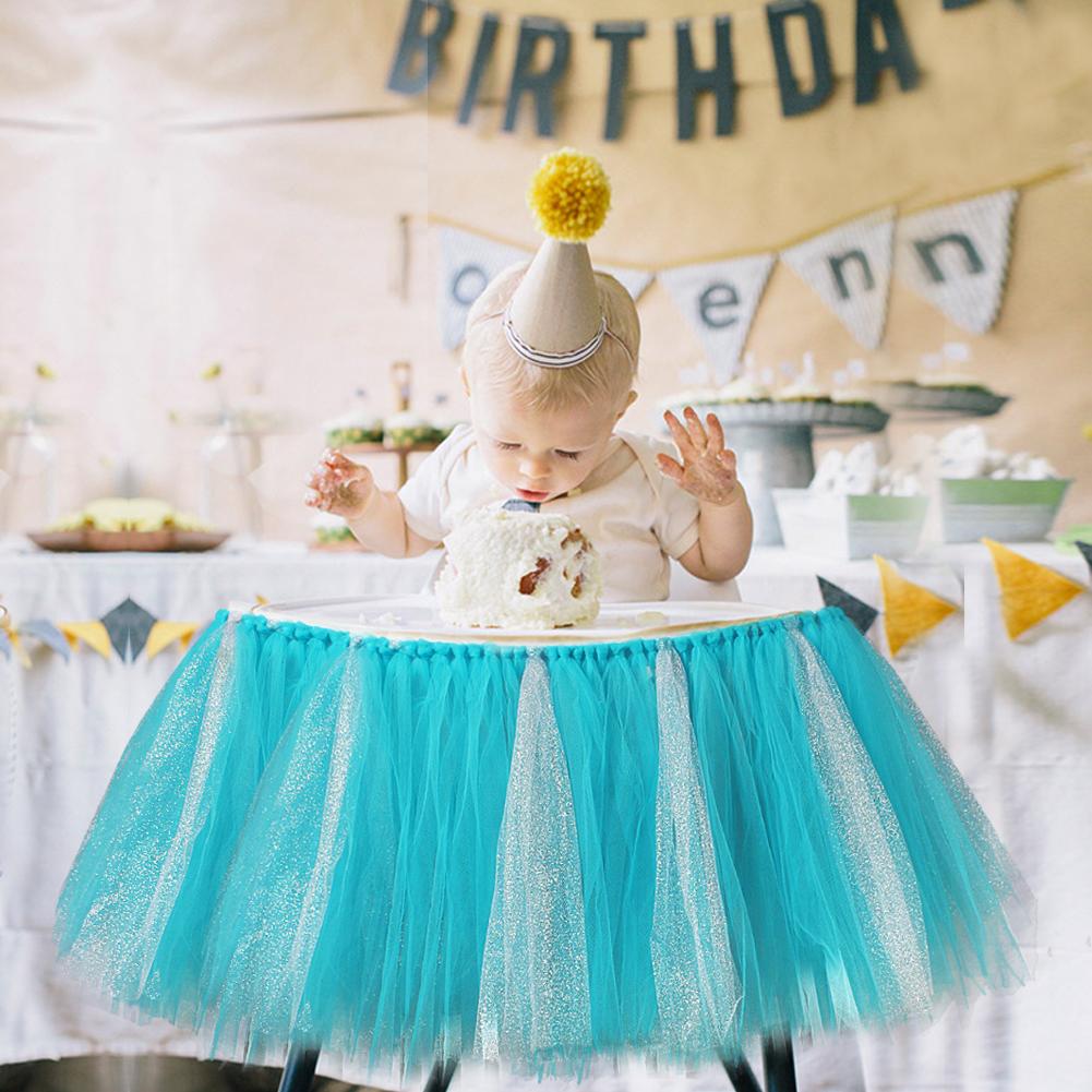 Handmade Glitter Soft Tulle Tutu Skirt High Chair Skirting Baby Birthday Decor
