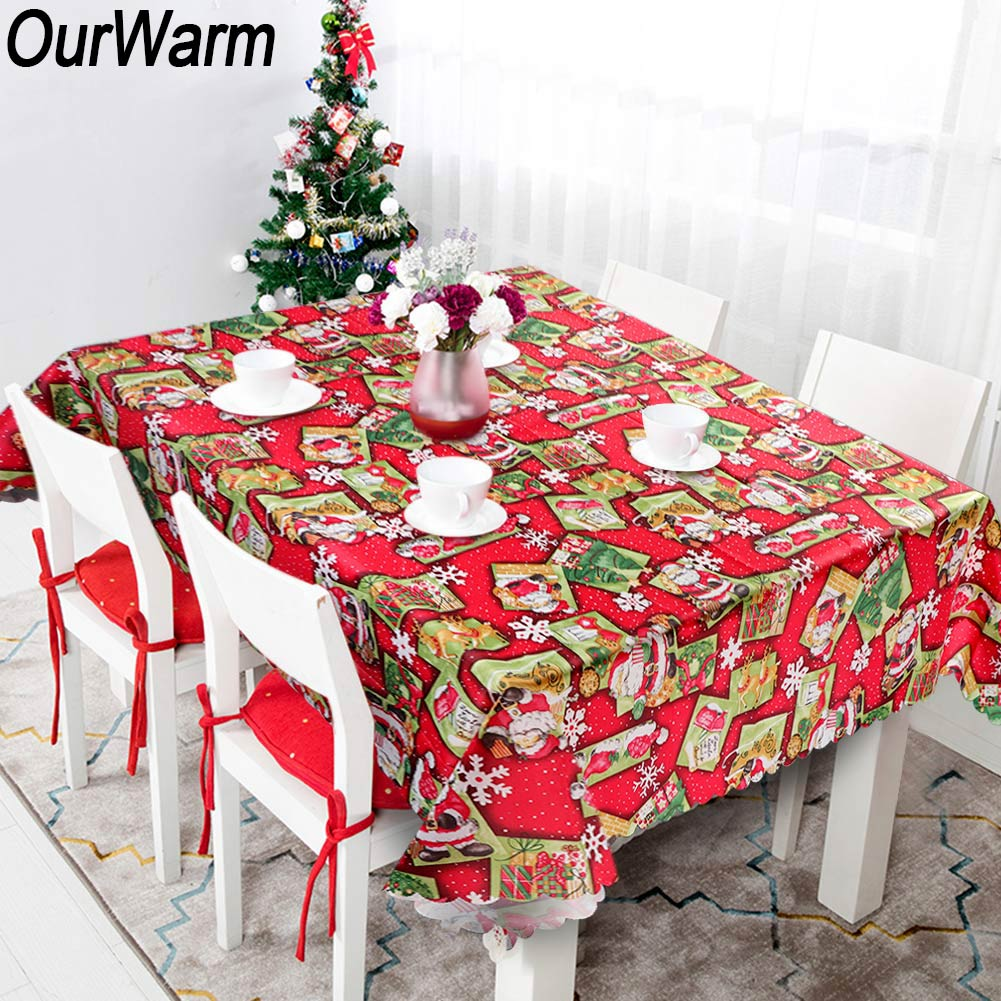 Christmas Tablecloth Lace Table Cover Table Holiday Xmas Dinner Party Decor Gift