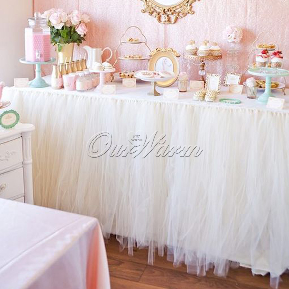 1X White TUTU Table Skirt Wedding Party Baby Shower Favor Table ...