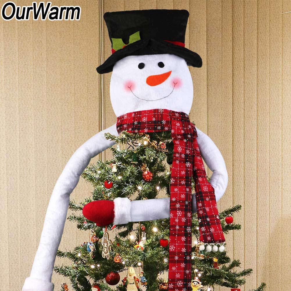 big size snowman christmas tree topper fairy fleece hugger topper new year deco