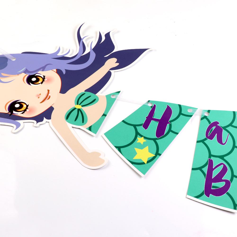 Mermaid Happy Birthday Banner Mermaid Party Banner For