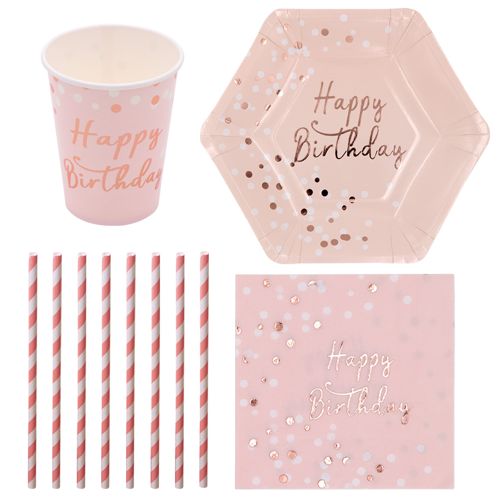 birthday party paper plate napkin cup straw happy birthday disposable tableware ebay. Black Bedroom Furniture Sets. Home Design Ideas