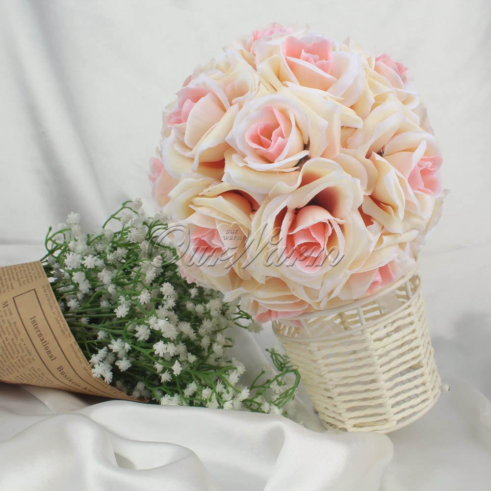 5×Artificial Silk Rose Kiss Flower Ball Pomander Wedding Party ...