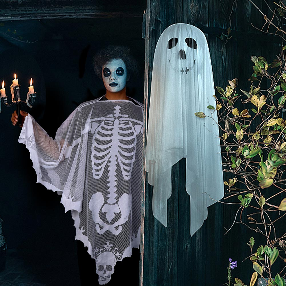 Details about Halloween Poncho White Lace Skeleton Poncho Day of The Dead  Party Costume Supply