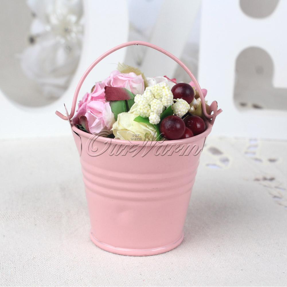 12pcs Wedding Favors Gifts Candy Box Metal Mini Tin Bucket Pails ...