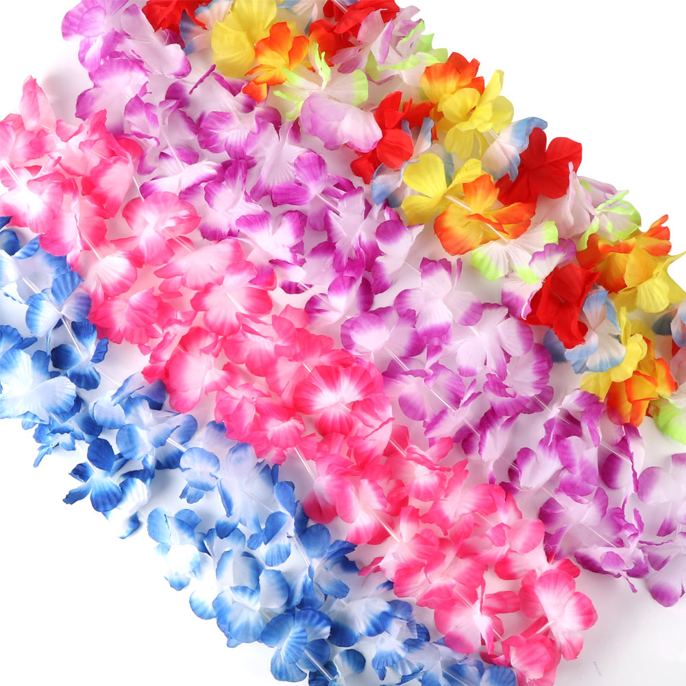 12hawaiian Leis Garland Artificial Flower Necklace Beach Fun Leis