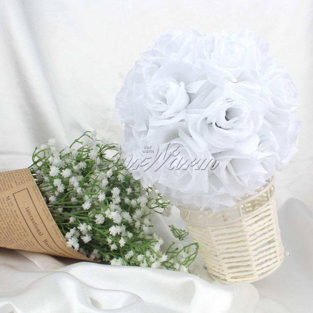 1 Rose Flower Ball Bridal White 18cm Kissing Ball Bouquet Wedding ...