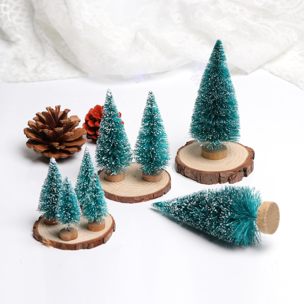 8fake artificial christmas tree with stand home office mini small pine trees