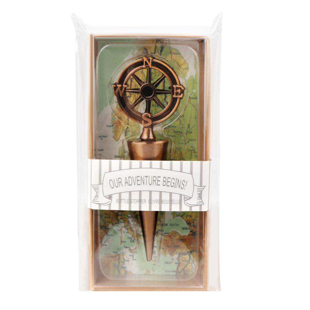 Bronze Nautical Compass Wine Bottle Stopper Bachelor Party Wedding ...