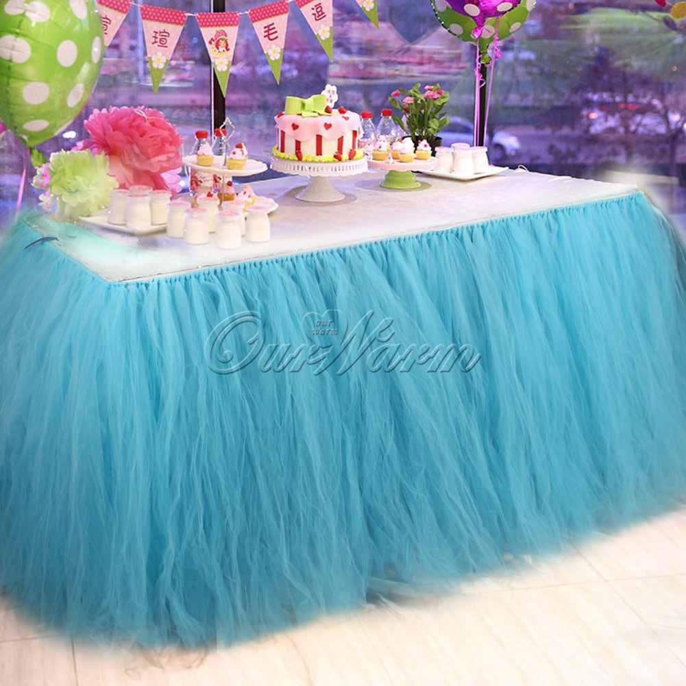 2×TUTU Tulle Table Skirt Tableware Wedding Party Birthday Baby ...