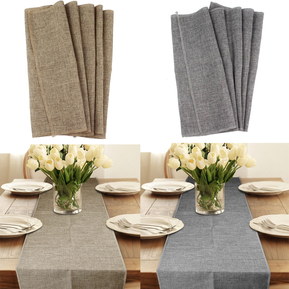 Details About Jute Burlap Table Runner Imitated Linen Cloth Christmas Wedding Home Decor