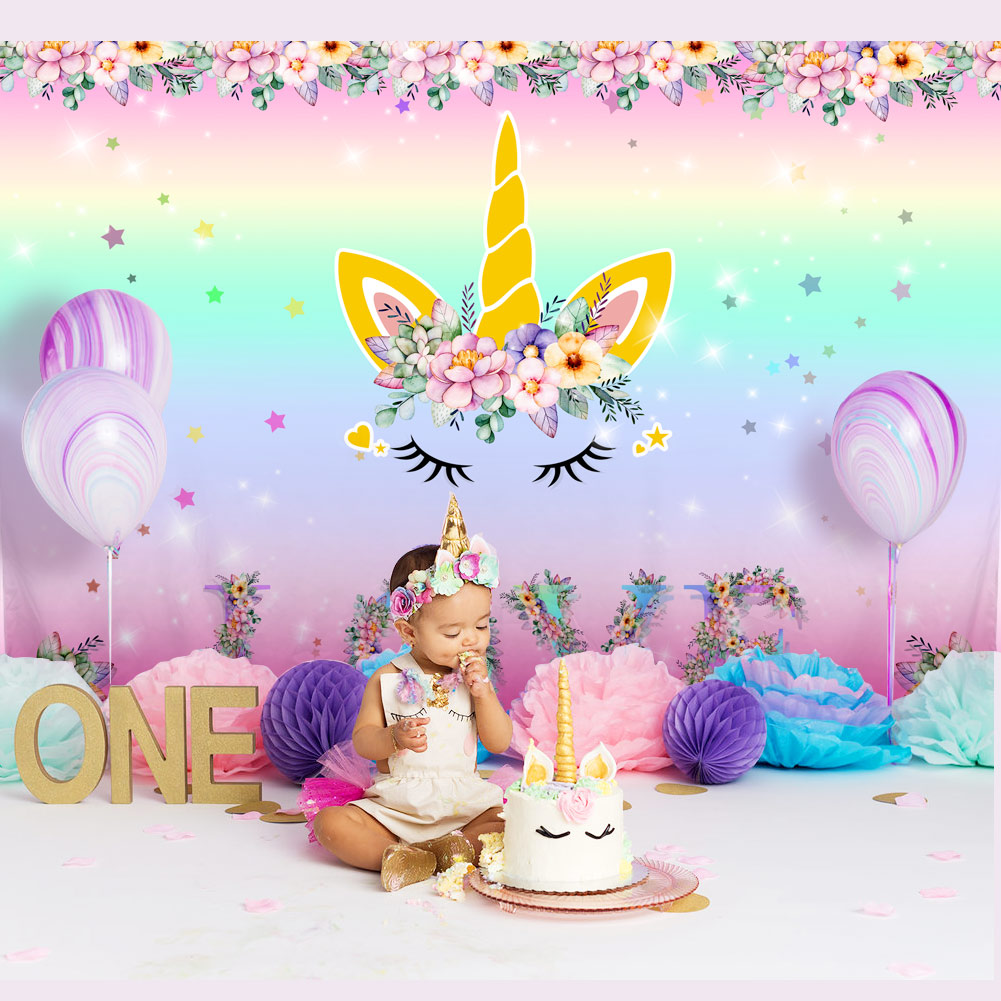 Details About Unicorn Party Backdrop Kids Birthday Floral Photo Background Decor