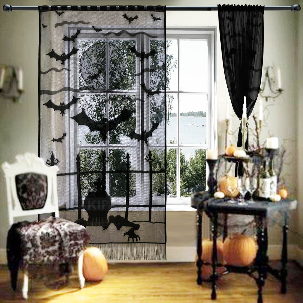 Details about Halloween Bat Spiderweb Lace curtain Window Panel Party Background Wall Decor