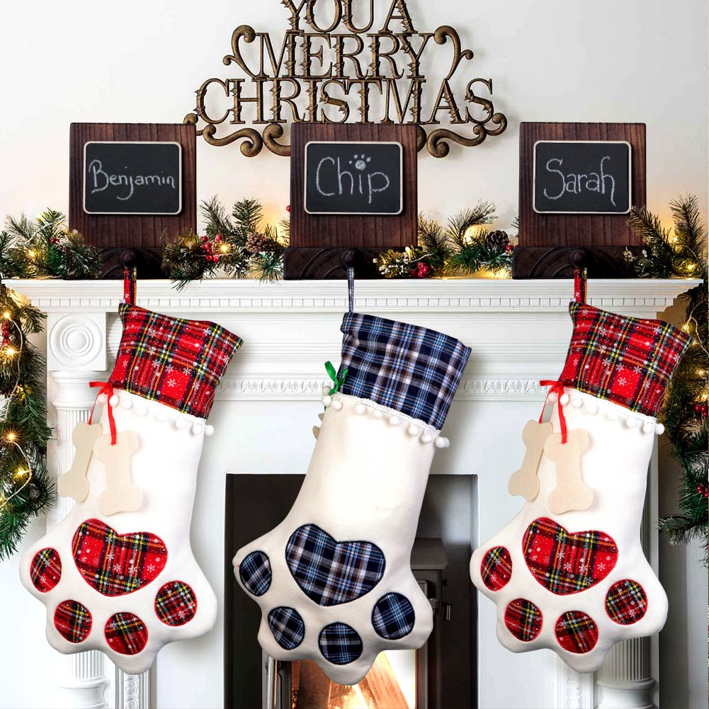 wooden christmas stocking holder for mantle fireplace chalkboard stocking hanger
