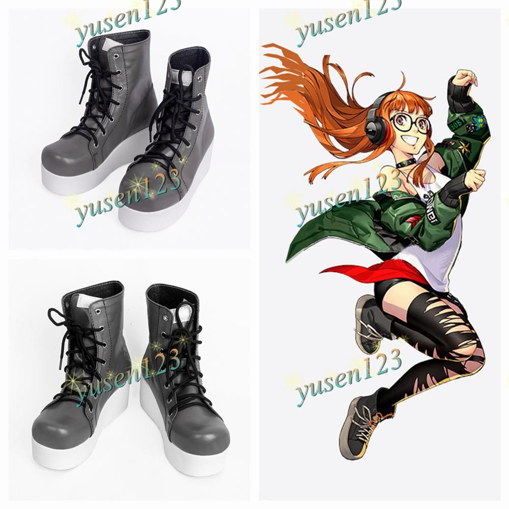 P5 Persona 5 Sakura Futaba Boots Shoes Cosplay Halloween Custom Made Shoes