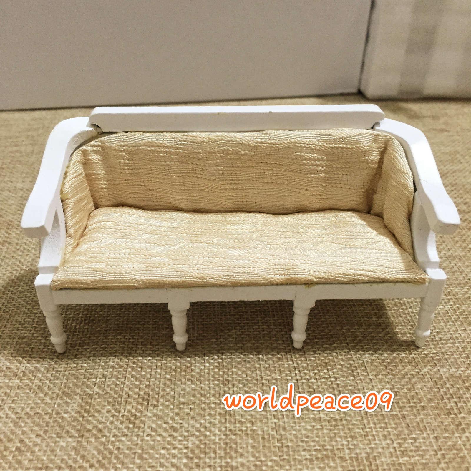 Miniature Plain Couch Sofa Dollhouse Furniture Model Decor White