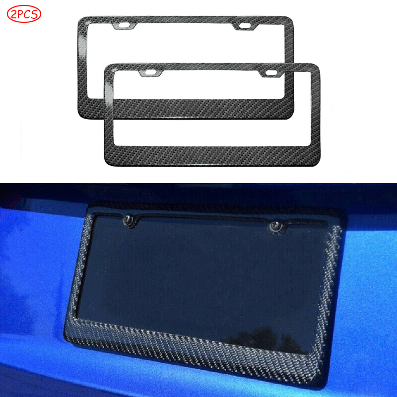2 Screw Caps BLACK Real Carbon Fiber License Plate Frame TAG COVER