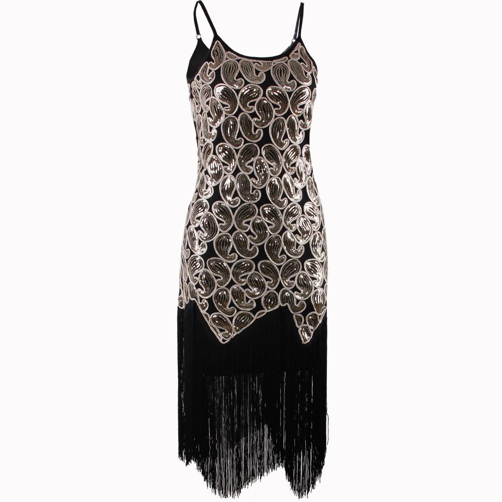 Black Classic Vintage 1920s Flapper Dress Great Gatsby