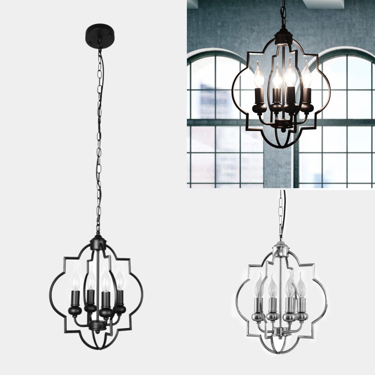 4 Lights Industrial Chandelier Modern Farmhouse Pendant Light Ceiling Fixture Us Ebay