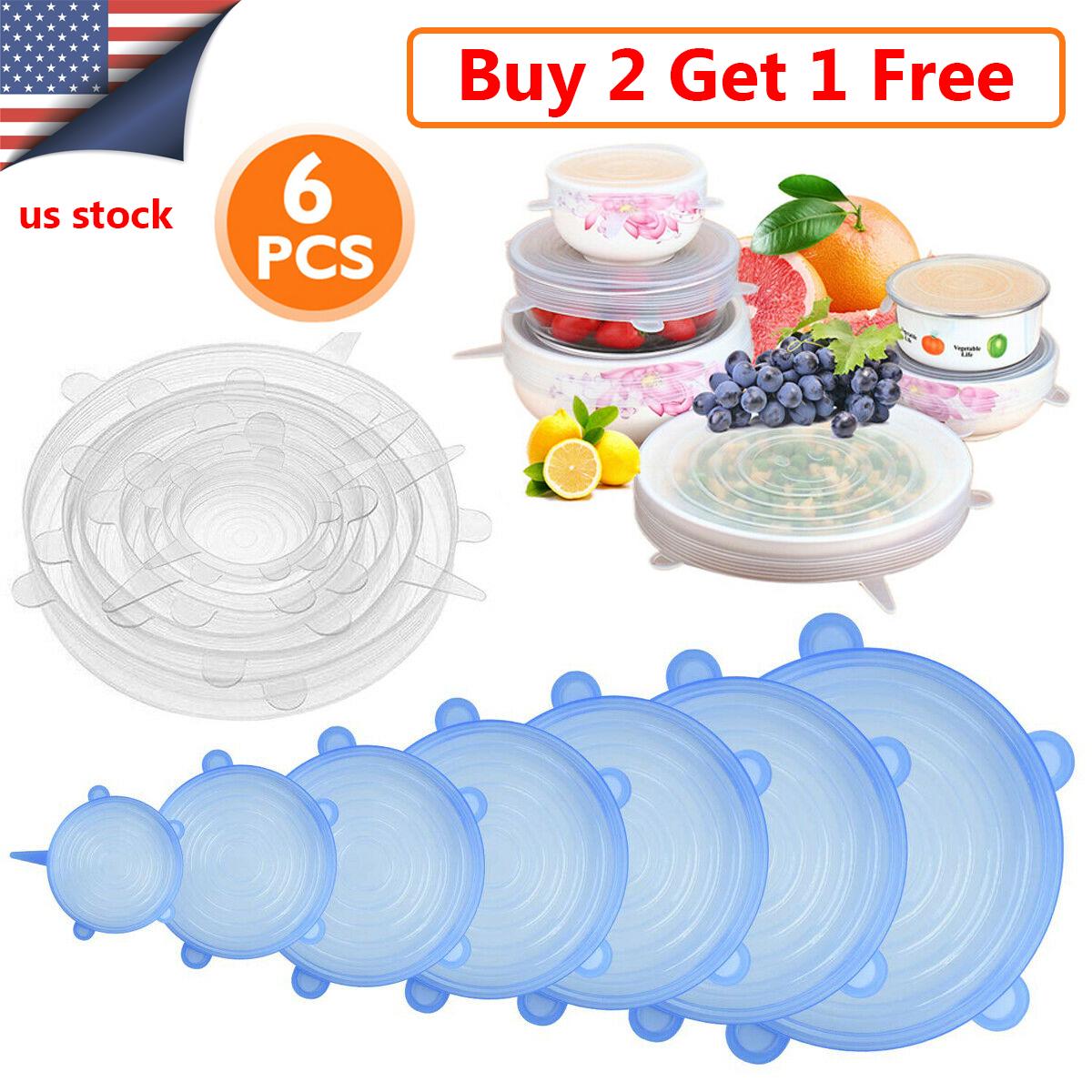 6Pcs Reusable Extensible Lids Food Bowl Airtight Suction Cover Food Storage Wrap