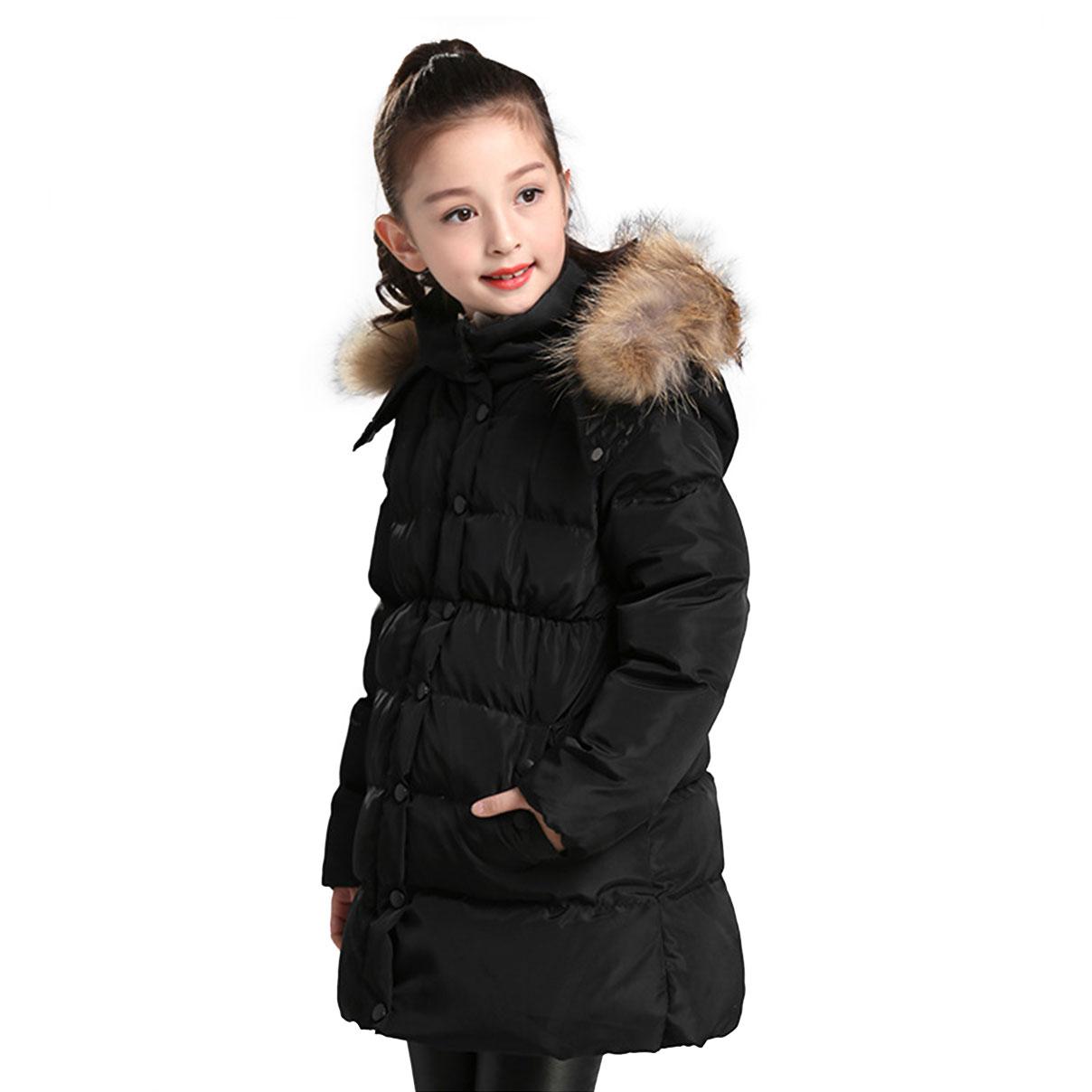 Kids Girls Padded Hooded Jacket Winter Coat Velvet Thick Fur Collar Floral Parka