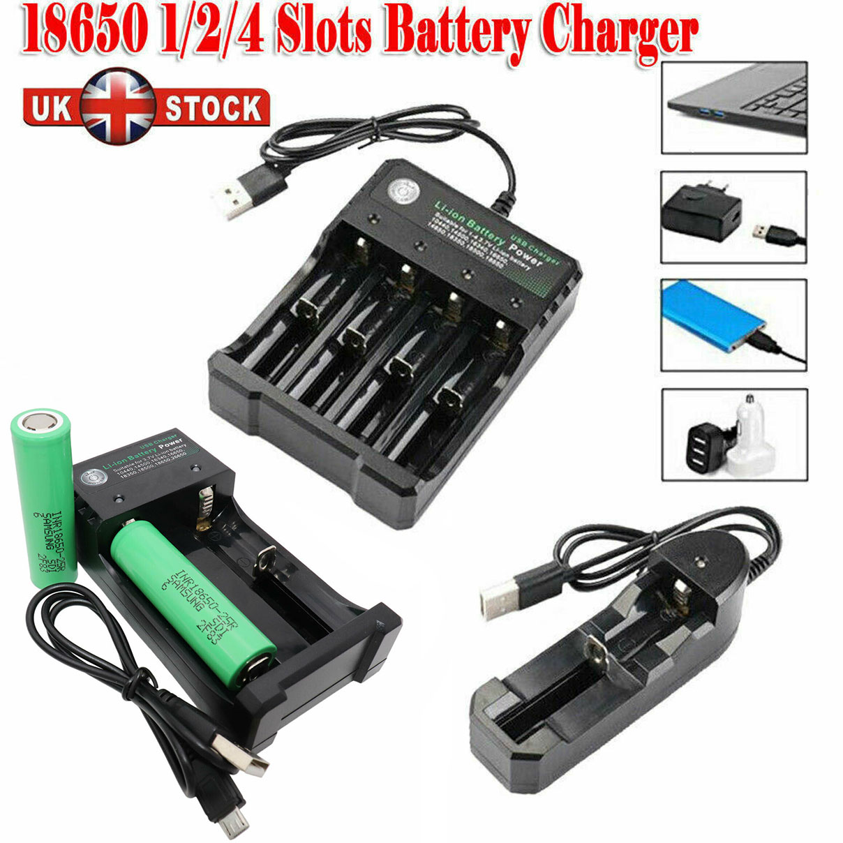 10 PCS Universal Chargers for 3.7v 18650 Rechargeable Li-ion Battery US Stock