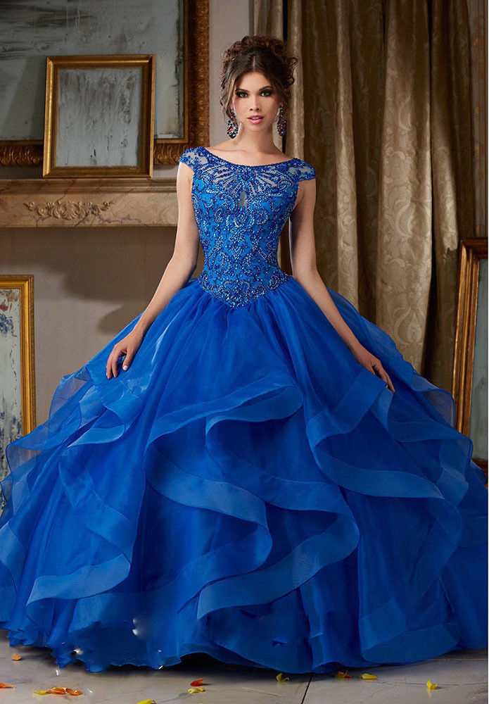 Royal Blue Quinceanera Dress Beading Luxury Ball Gown Prom Pageant ...