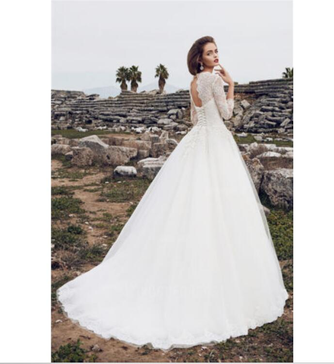 Vintage 3/4 Sleeves V Neck Wedding Dress Ball Gown 2018 lace Up back ...