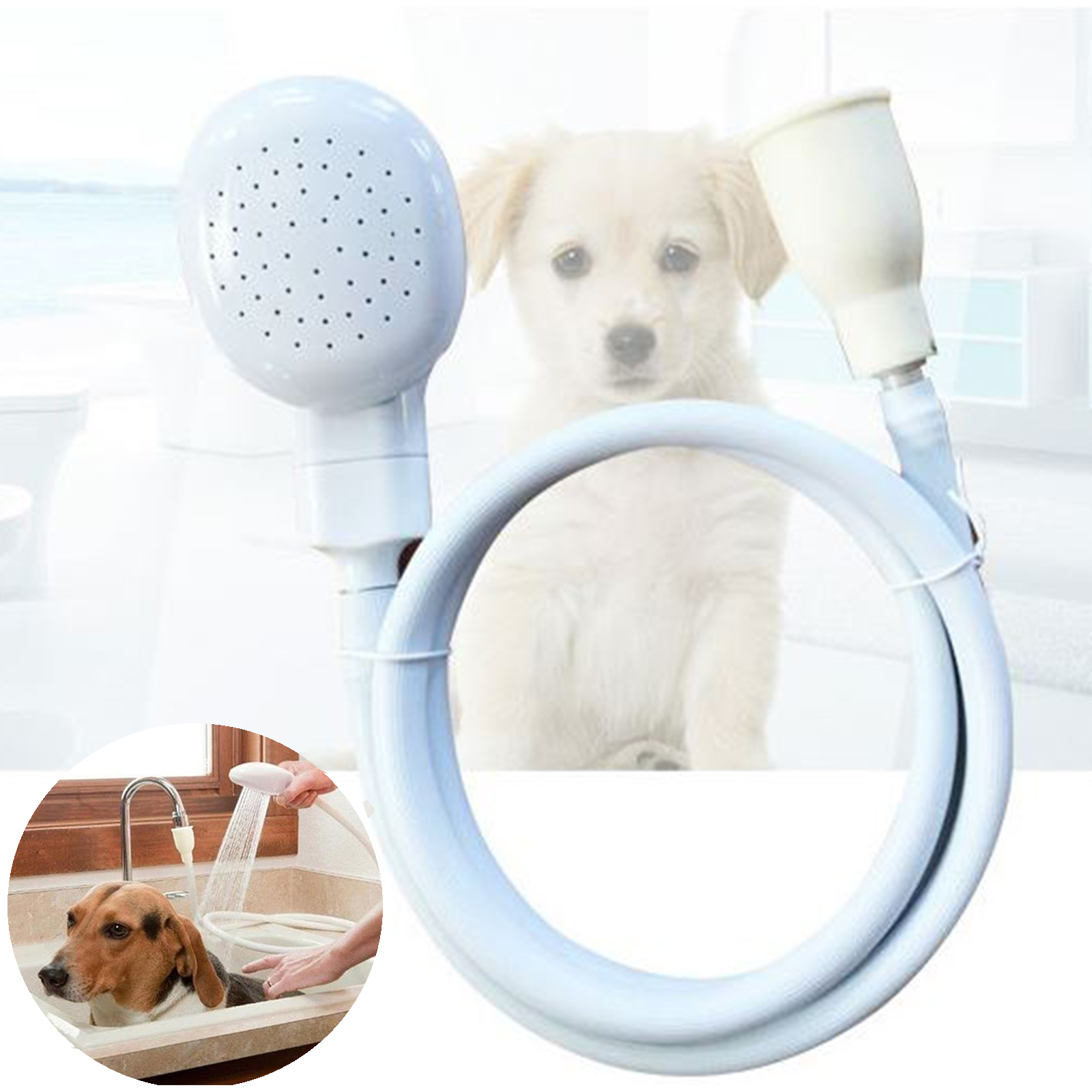 Portable Dog Pet Care Shower Spray Hose Bath Tub Sink Faucet ...